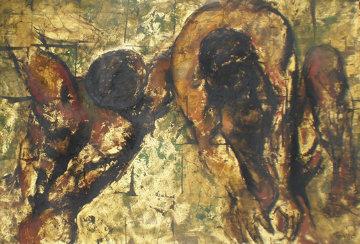 Struggle of Man 48x30 Super Huge Original Painting - Violet Parkhurst