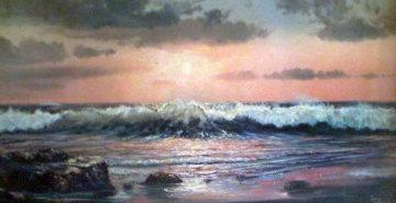 Golden Sunset 24x48 Huge Original Painting - Violet Parkhurst