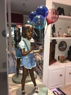 Balloon Girl Bronze Life Size Sculpture 1993 49 in Sculpture - Ramon Parmenter