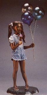 Balloon Girl Bronze Life Size Sculpture 1993 49 in Sculpture - Ramon Parmenter
