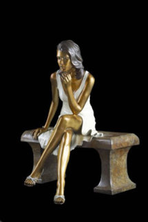 Sitting Pretty Bronze Sculpture 1990 20 in Sculpture - Ramon Parmenter
