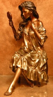 Vanity Faire Bronze Sculpture 1992 29x25 in Sculpture - Ramon Parmenter