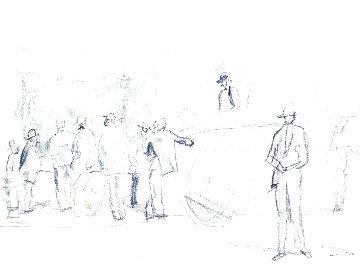 Scene De Marche Drawing 1920 7x9 Drawing - Jules Pascin
