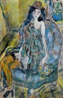 Jeune Fille Au Chapeau 1920 23x20 Original Painting - Jules Pascin