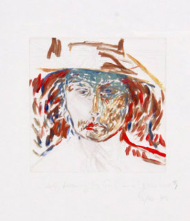 Self Becoming Van Gogh in a Yellow Hat #3 Works on Paper (not prints) - Pat Steir