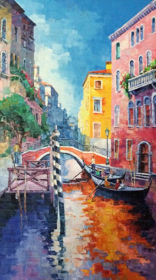 Boaters By Bridge 2000 65x42 Original Painting by Alex Pauker
