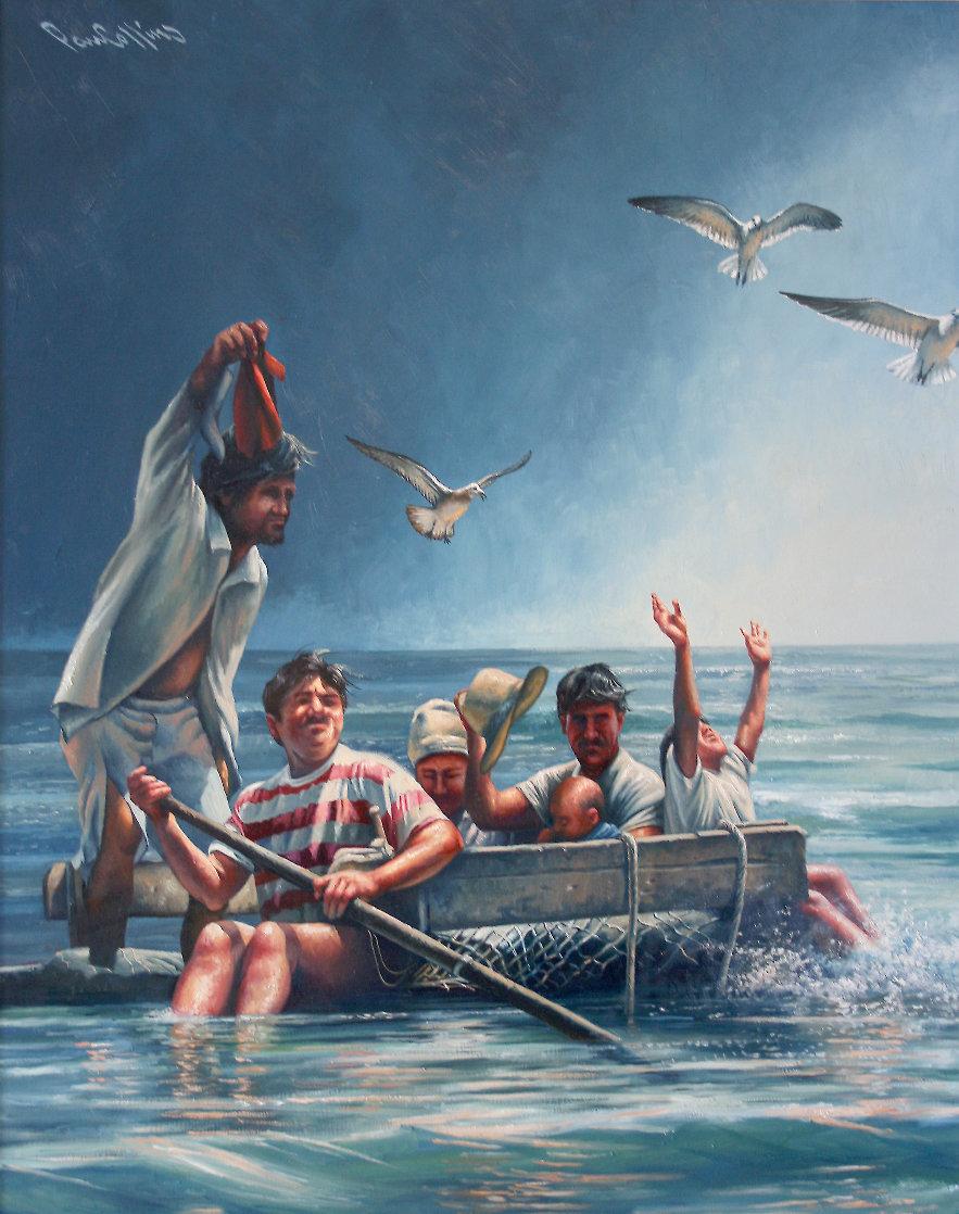 Cuban Rafter - Balseros Cubanos 1998 70x57 Super Huge Immigration Original Painting by Paul Collins