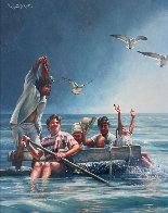 Cuban Rafter - Balseros Cubanos 1998 70x57 Super Huge Immigration Original Painting by Paul Collins - 0