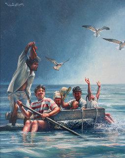 Cuban Rafter - Balseros Cubanos 1998 70x57  Huge Immigration Original Painting - Paul Collins
