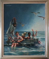 Cuban Rafter - Balseros Cubanos 1998 70x57 Super Huge Immigration Original Painting by Paul Collins - 1