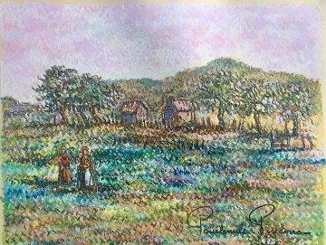 Deux Femmes Au Champs Pastel Original 10x20 Original Painting - Paul Emile Pissarro