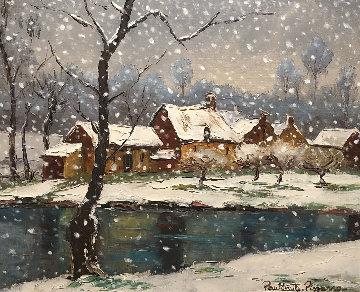 Cantepie Et L'orne Sous La Neige 2015 24x27 Original Painting - Paul Emile Pissarro