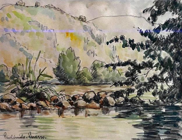 Untitled Landscape Watercolor  21x24 by Paul Emile Pissarro