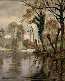 Rivière Près De Clécy 1941 25x21 Original Painting - Paul Emile Pissarro