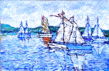 Rentrie Au Port Pastel 24x28 Works on Paper (not prints) - Paul Emile Pissarro