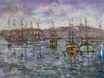 Les Bateaux Pastel 32x41 Original Painting - Paul Emile Pissarro