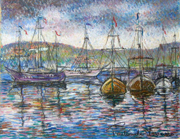 Sur le Port 32x41 Original Painting - Paul Emile Pissarro