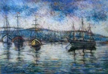 Boat Harbor 21x25 Original Painting by Paul Emile Pissarro
