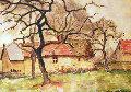 La Serverie, Poiriers Et Vielles Maisons Watercolor Watercolor - Paul Emile Pissarro