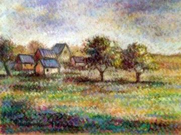 Un Hameau En Normandie Pastel 32x36 Original Painting - Paul Emile Pissarro