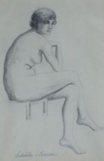 Seated Nude 25x21 Works on Paper (not prints) by Paul Emile Pissarro