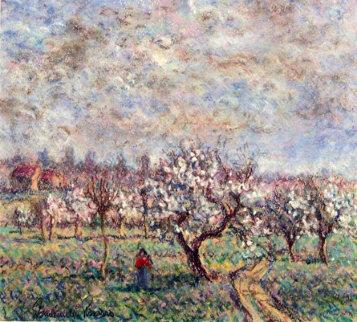 Le Verger 9x10 Original Painting - Paul Emile Pissarro