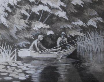 Deux Pecheurs Dans Une Barque 20x25 Original Painting - Paul Emile Pissarro