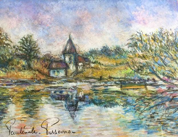 La Tourelle a Marny Sur Orne 29x25 Works on Paper (not prints) by Paul Emile Pissarro