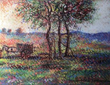 La Charrue De Jules Pastel 19x22 Original Painting by Paul Emile Pissarro