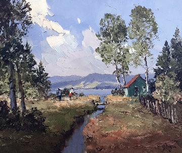 Near the Lake  19x23  Original Painting - Erich Paulsen