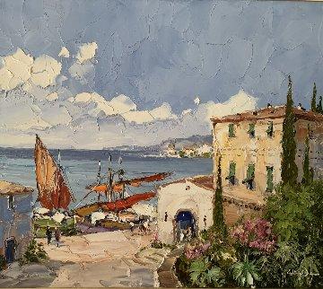 Ligurian Harbor 32x36  Original Painting by Erich Paulsen