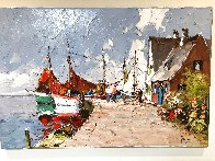 Untitled (Harbor Scene) 24x36 Original Painting by Erich Paulsen - 2
