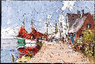 Untitled (Harbor Scene) 24x36 Original Painting by Erich Paulsen - 3