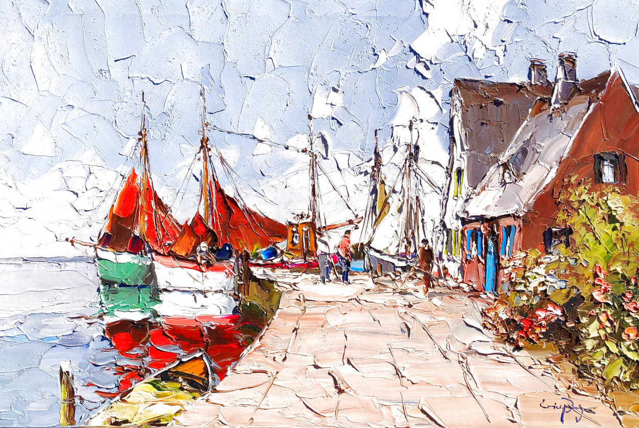 Untitled (Harbor Scene) 24x36 Original Painting by Erich Paulsen