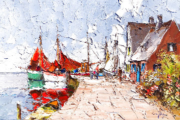 Untitled (Harbor Scene) 24x36 Original Painting - Erich Paulsen