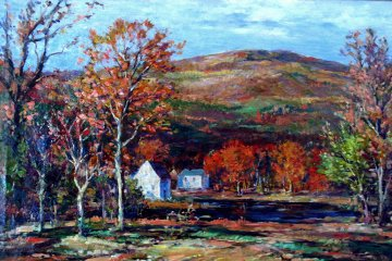 Untitled (Autumn in  New England) 1930 41x29 Original Painting - Vladimir Pavlosky