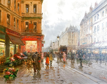 Parisian Street Scene 1995 27x34 Original Painting - Emilio Payes