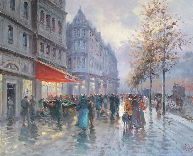 Parisian Street Scene 1980 39x33 Original Painting by Emilio Payes