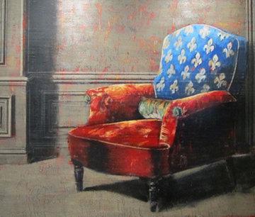 Comme Un Paysage Eteind Ton Absence Entre Mes Mains 2002 61x65 Original Painting - Jacques Payette