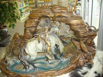 Where the Buffalo Roam Bronze Sculpture 48 in Sculpture - Vic Payne