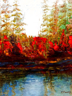 By the Waterfall 2018 16x20 Original Painting - Connie Pearce
