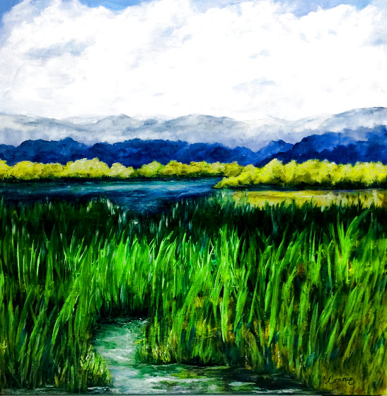 Back Water Pond 2020 24x24 Original Painting by Connie Pearce