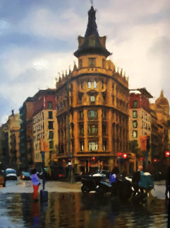 Barcelona in the Rain II 2016 38x32 Original Painting - Matthew Peck