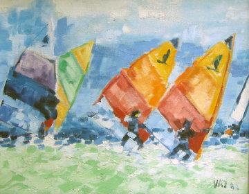 Regatta 104 1982  18x21 Original Painting - Pedro Vaz