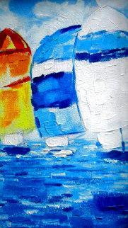 Regatta 109 1982 14x8 Original Painting - Pedro Vaz