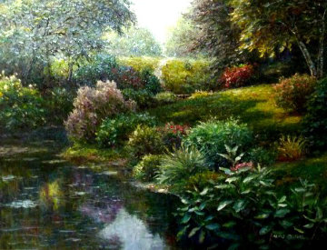 In Front of the Pond 30x40 Original Painting by Henry Peeters