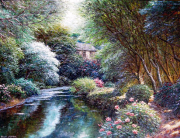 Taunton Stream 2008 46x58 Super Huge Original Painting - Henry Peeters