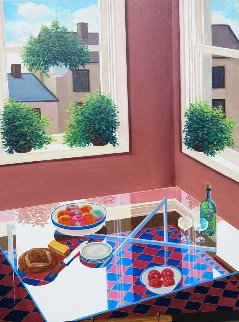Glass Top Table 48x36 Original Painting - Henry Peeters