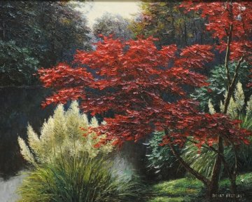 Japanese Maple 1998 34x40 Original Painting by Henry Peeters