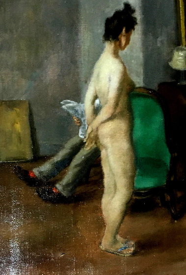 Naked Woman in Living Room 1947 12x8 Original Painting by Peggy Bacon